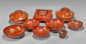 Nine Antique Japanese Red Lacquer Dishes
