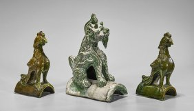 Three Antique Chinese Glazed Pottery Roof Tiles