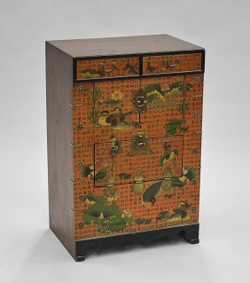 Small Korean Tansu-style Painted Chest