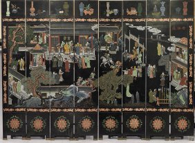 Massive Chinese 8-panel Lacquered Screen
