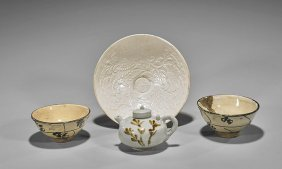 Four Early-style Chinese Dishes: Bowls & Tea Pot