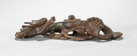 Chinese Carved Wood Water Dragon