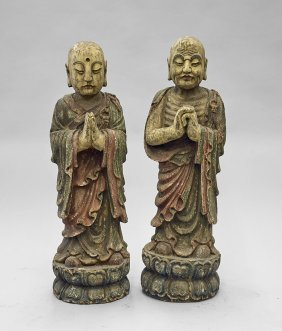 Pair Tall Chinese Lacquered Wood Figures