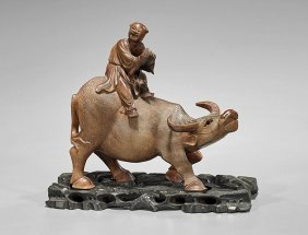 Old Chinese Carved Wood Boy & Buffalo
