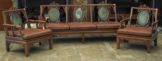 Three Piece Chinese Hardwood Salon Set
