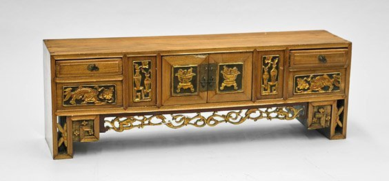 Old Chinese Carved Elmwood Wall Shelf