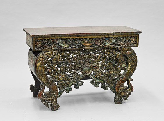 Old Chinese Polychromed & Carved Wood Bench