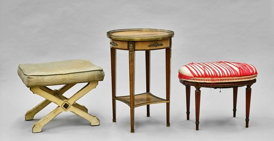 Three Vintage Furniture Pieces: Tables & Seats
