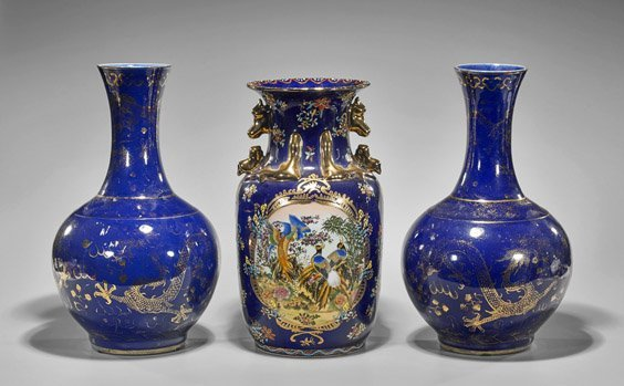 Three Large Blue & Gilt Porcelain Vases