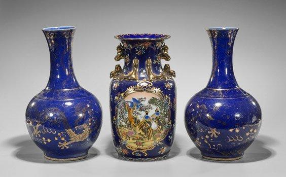 Three Large Blue & Gilt Porcelain Vases - 2