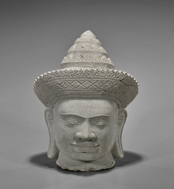Cambodian-Style Carved Sandstone Buddha Head