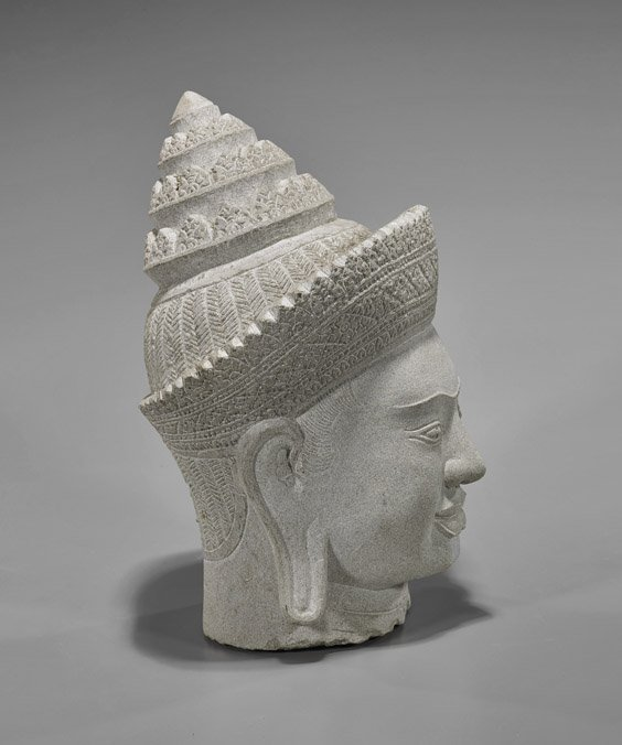Cambodian-Style Carved Sandstone Buddha Head - 2