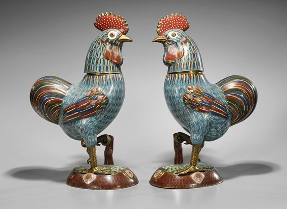 Pair Tall Chinese Cloisonné Enamel Roosters