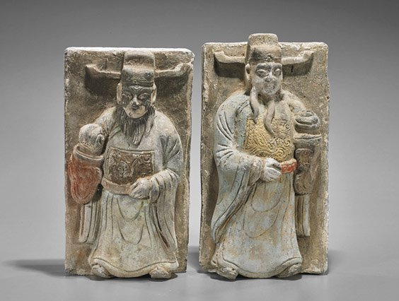 Pair Old Chinese Pottery Figural Tiles