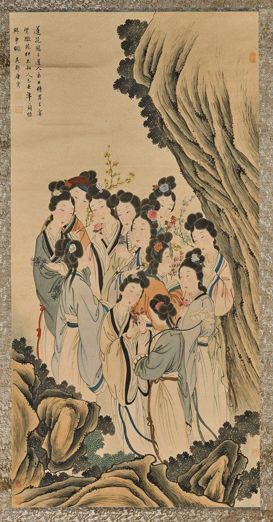 Large Chinese Paper Scroll: Beauties