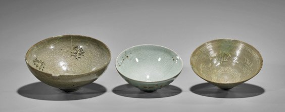 Three Antique Korean Celadon Glazed Bowls