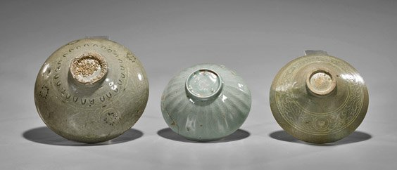Three Antique Korean Celadon Glazed Bowls - 2