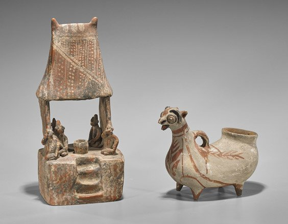 Two Pottery Items: Ram & House