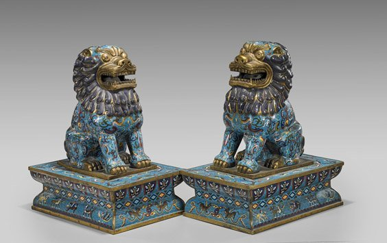 Pair Large Chinese Cloisonné Enamel Fo Lions