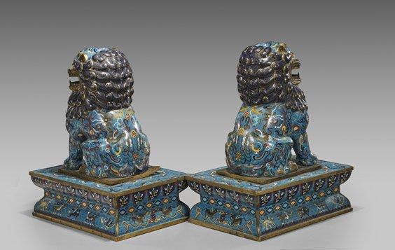 Pair Large Chinese Cloisonné Enamel Fo Lions - 2