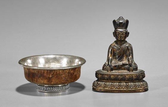 Two Tibetan Items: Bowl & Figure