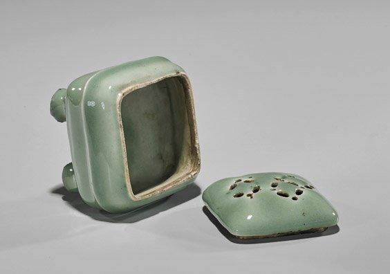 Antique Japanese Celadon Glazed Koro - 2