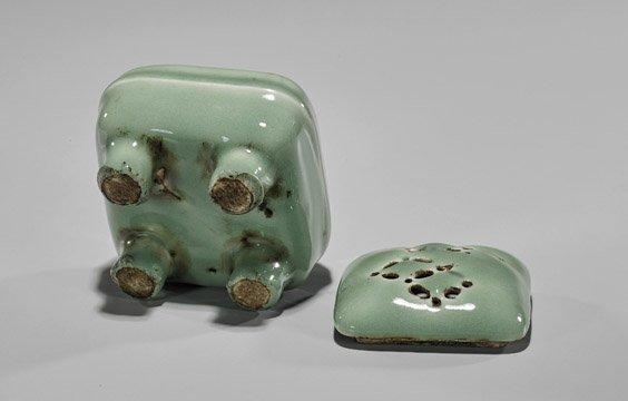 Antique Japanese Celadon Glazed Koro - 3