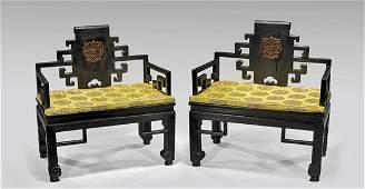 Pair Chinese Hardwood Throne Chairs