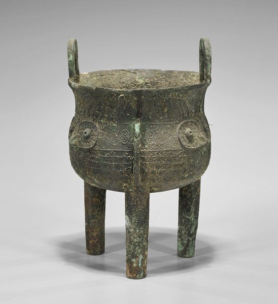 Antique Chinese Bronze Tripod Ding Vessel