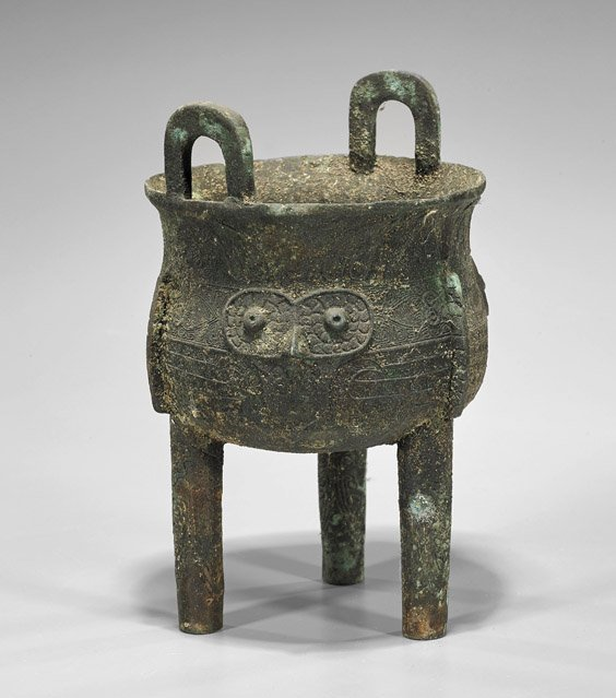 Antique Chinese Bronze Tripod Ding Vessel - 2