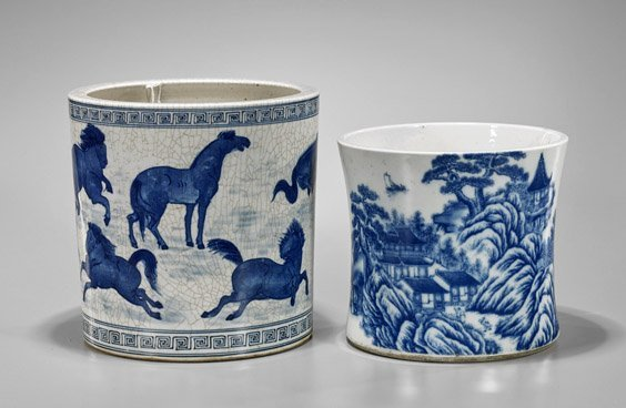 Two Large Chinese Blue & White Porcelain Brushpots