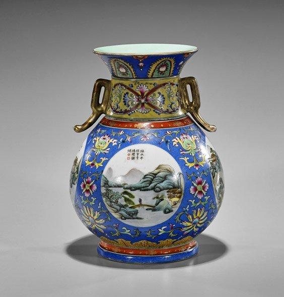 Qianlong-Style Sectional Porcelain Vase