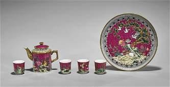 SixPiece Chinese Enameled Porcelain Teaset