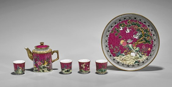 Six-Piece Chinese Enameled Porcelain Teaset