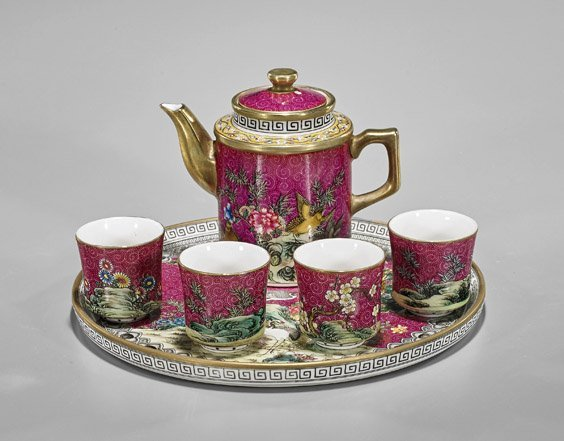 Six-Piece Chinese Enameled Porcelain Teaset - 2