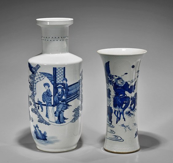 Two Kangxi-Style Blue & White Porcelain Vases