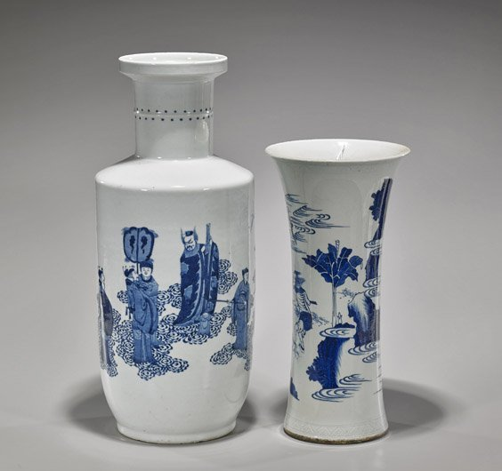 Two Kangxi-Style Blue & White Porcelain Vases - 2