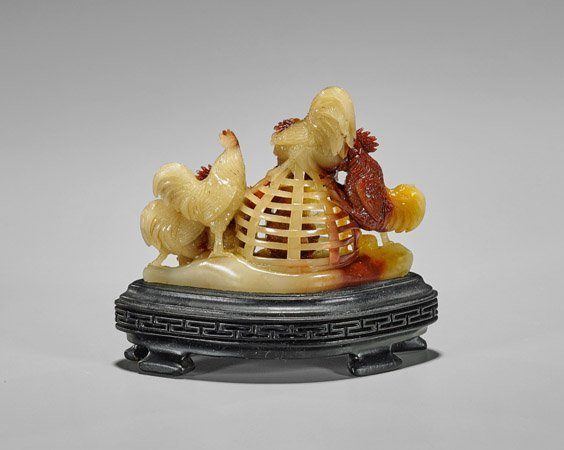 Chinese Openwork Shoushan Stone Rooster Group - 2