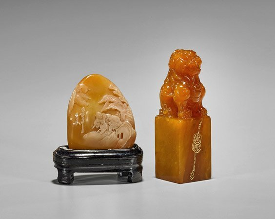 Two Chinese Carved Shoushan Stones: Seal & Pebble