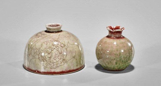 Two Kangxi-Style 'Unripened Peachbloom' Glazed Droppers