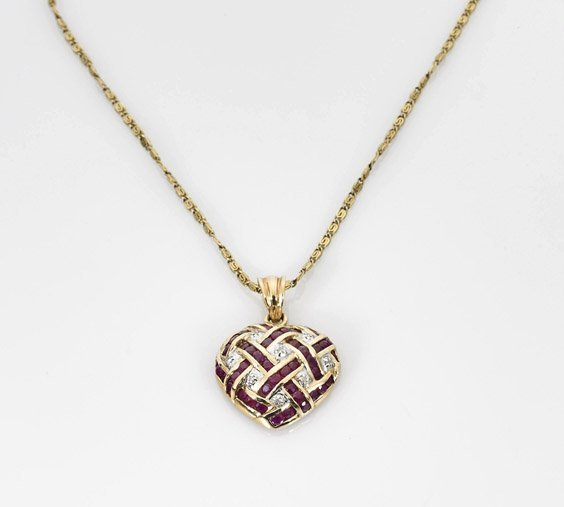 Ladies' 14K Yellow Gold & Ruby Heart Pendant
