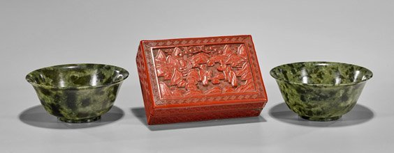 Three Items: Pair Bowenite Bowls & Cinnabar Box