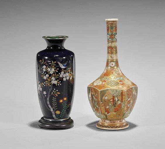 Two Antique Japanese Vases: Satsuma & Cloisonné