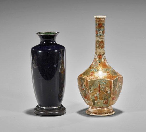 Two Antique Japanese Vases: Satsuma & Cloisonné - 2