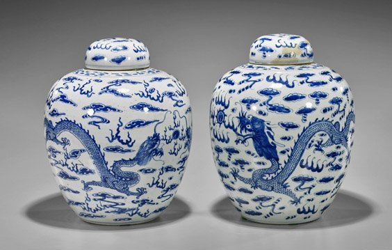 Pair Antique Chinese Blue & White Covered Vases
