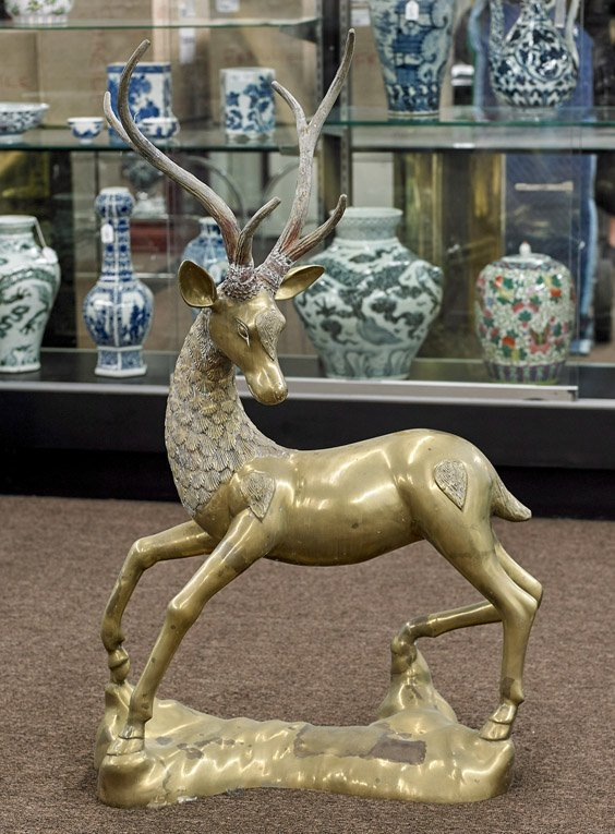 Large Chinese Bronze Deer