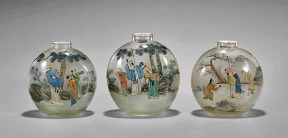 Three Large & Old Inside Painted Glass Snuff Bottles