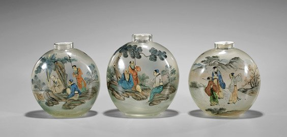 Three Large & Old Inside Painted Glass Snuff Bottles - 2