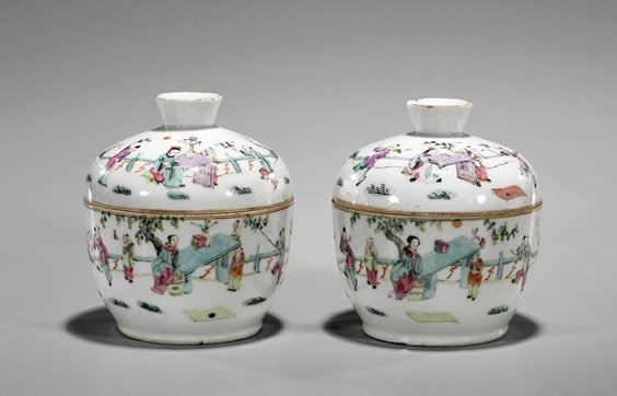 Pair Antique Chinese Famille Rose Bowls