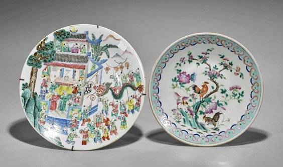 Pair Antique Chinese Famille Rose Plates
